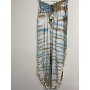 Sandy Beach Tie Dye With Ivory High Slit Pant