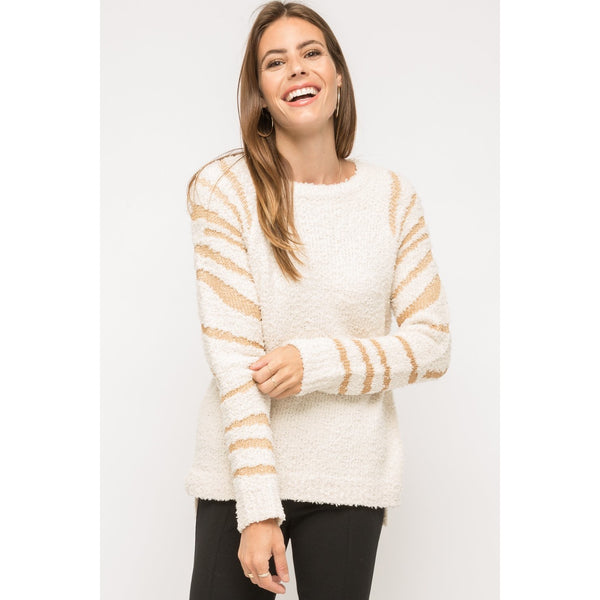 Ivory Pullover Sweater with Sleeve Detail