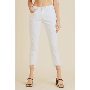 White Denim Jeans with Cropped Destructed Hem
