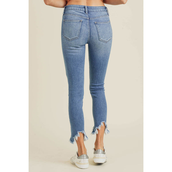 High Rise Skinny Blue Jeans with Peak Fringed Hem