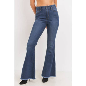 Classic High Rise Bell Bottom Flare Denim in Indigo Blue