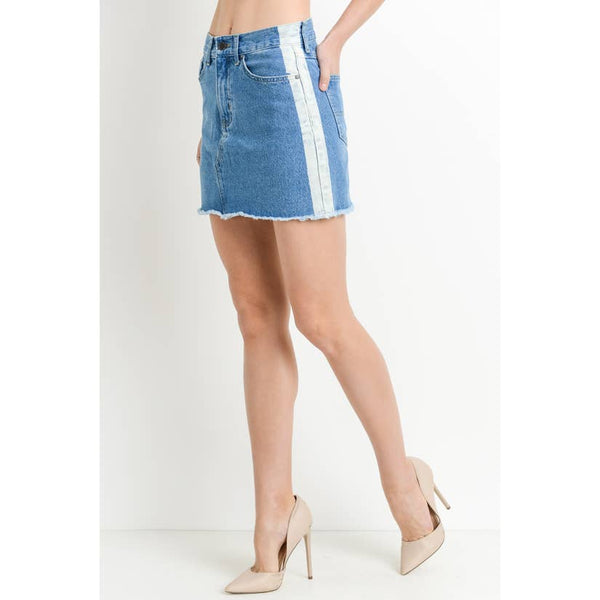 Blue Denim A-Line  Mini Skirt with White Denim Side Stripes