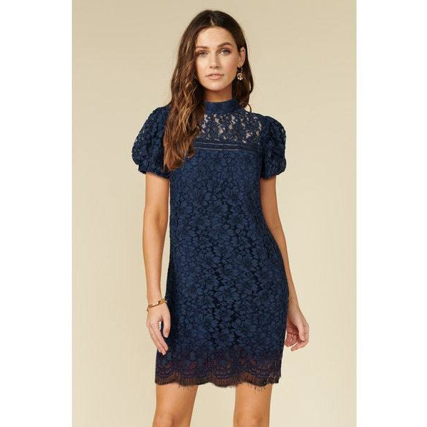 Kaia Sheath Lace Dress in Navy