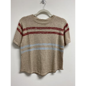 Short Sleeve Knit Top With Muted Stripes