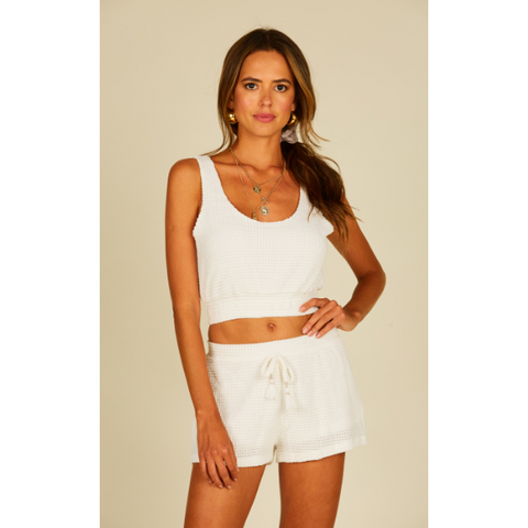 Beach White Basket Texture Knit Short