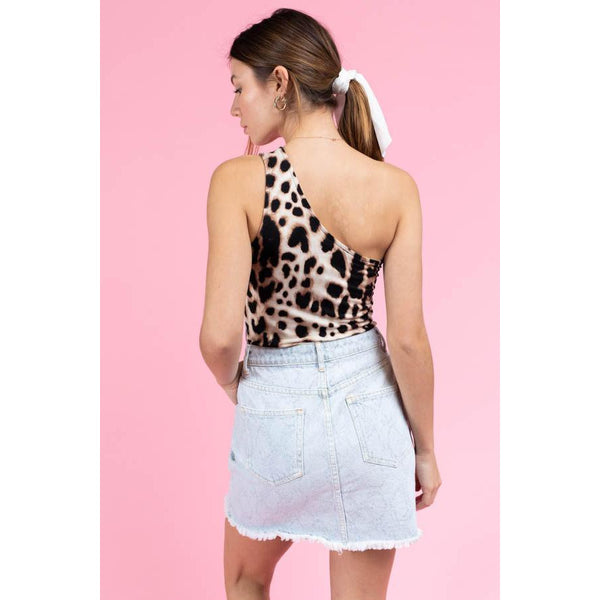 One Shoulder Bodysuit in Taupe Leopard