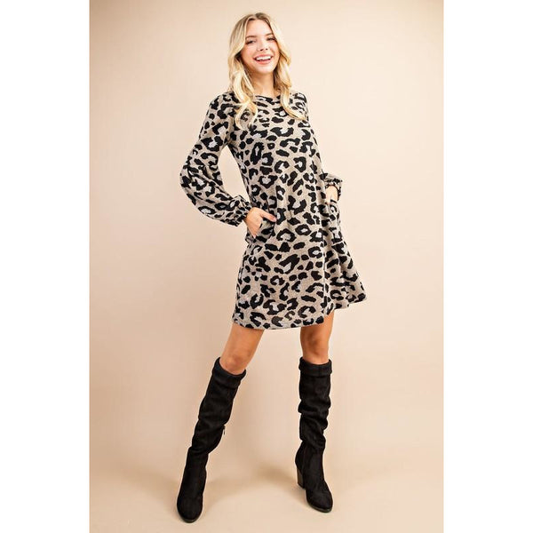 Leopard Print Ballon Sleeve Knit Dress