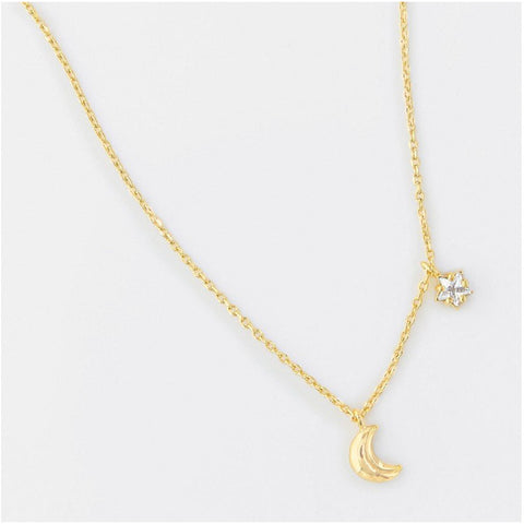 Gold Moon and Star Shaped CZ Necklace