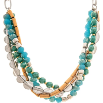 Gold and Silver Blue Green Four Row Faceted Beaded Necklace