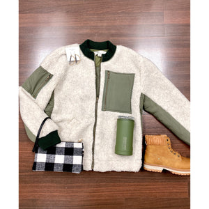 Oatmeal Shearling Jacket With Olive Color Block