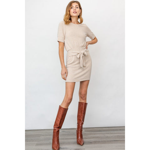 Short Sleeved Front Tie Mini Dress in Oatmeal