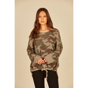 Camo Side Tunnel Tie Printed Sweater