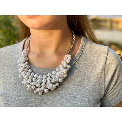Cream Rhodium Pearl Necklace