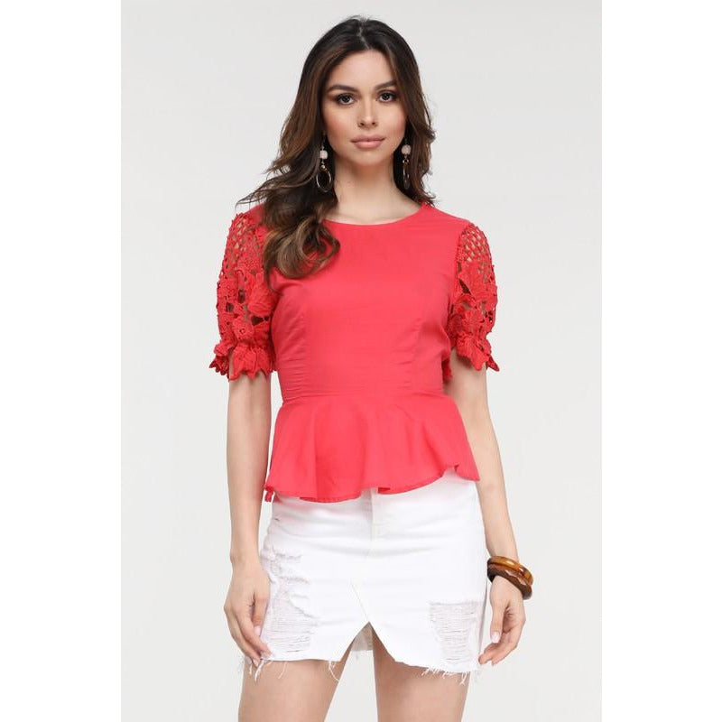 Peplum Top with Lace Crochet Sleeves