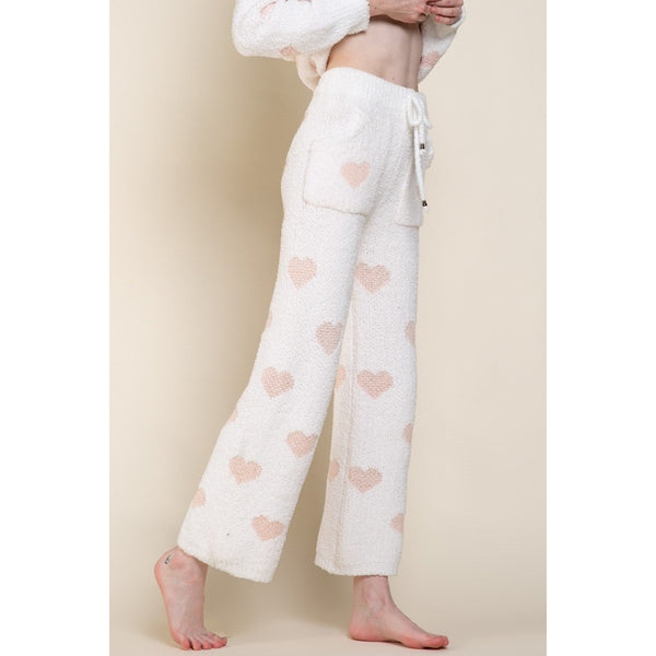 White Pink Heart Print Chenille Pants