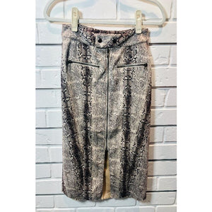Snake Print Skirt with Front Zipper