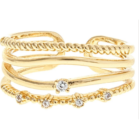 Gold Mixed Band Ring with CZs
