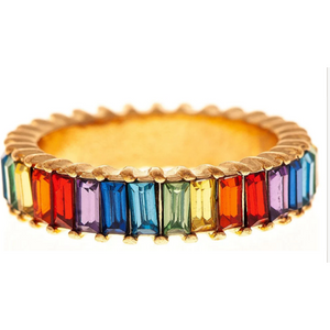 Gold Tone Ring with Rainbow Baguettes Crystal Ring