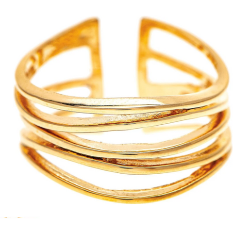 Gold Tone Wavy Wires Ring