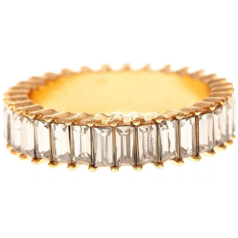 Gold Tone Ring with Clear Baguette Crystal Ring