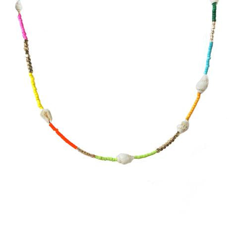 Rainbow Bead Conch Shell Necklace