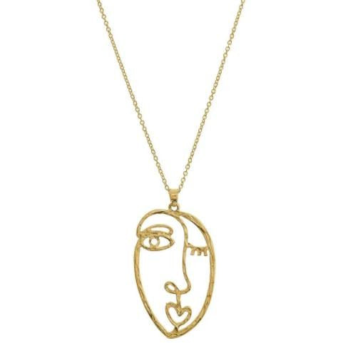 Matte Gold Picasso Sketch Face Pendant Necklace