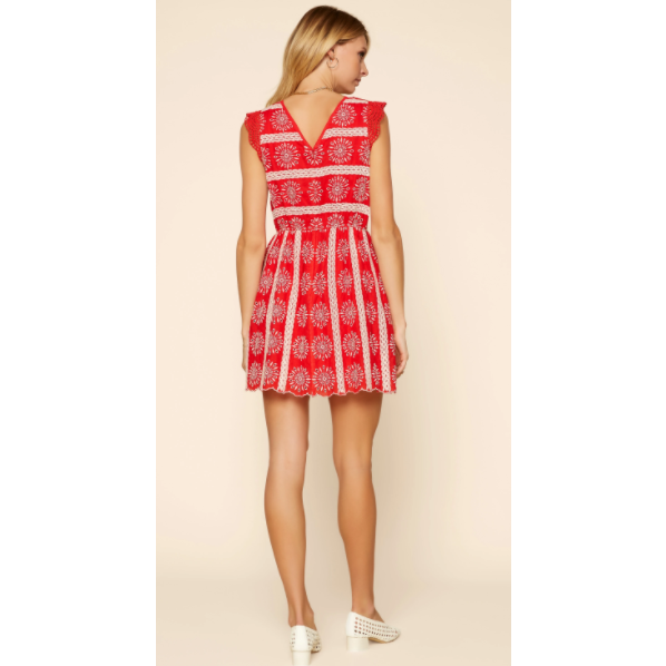 Red Eyelet Lace Mini Dress