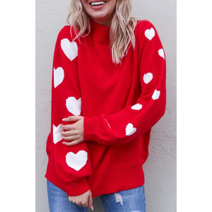 Red Knit Sweater with White Hearts