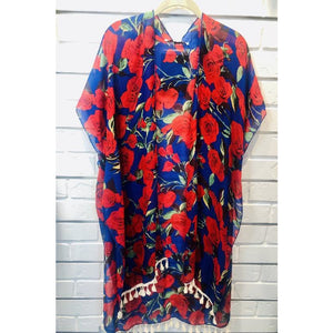 Royal Blue and Red Rose Kimono
