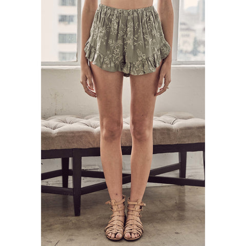 Embroidered Sweep Shorts with Ruffled Hem in Sage