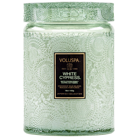 White Cypress Large Jar 18 oz Candle with Glass Lid