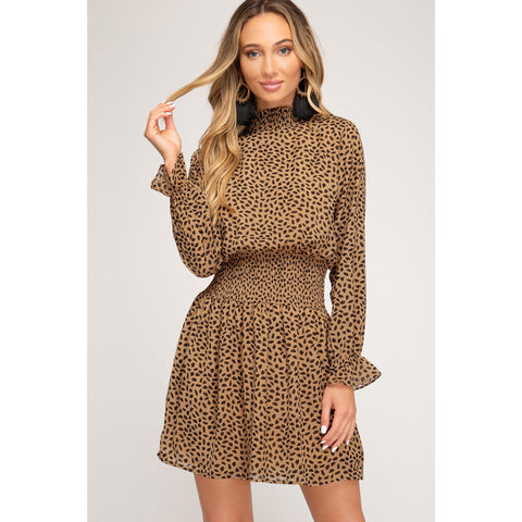 Chiffon Mini Cheetah Print Dress with Smocked Waist