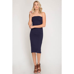 Strapless Basic Tube Midi Dress with Back Slit in Black