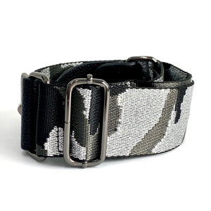 Silver Metallic Camo Strap With Gunmetal Hardware
