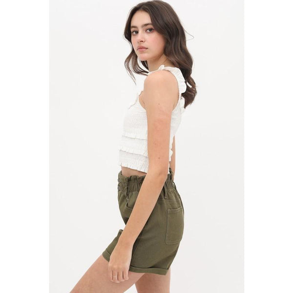 Ruffle Smock Tiered Cropped Tank