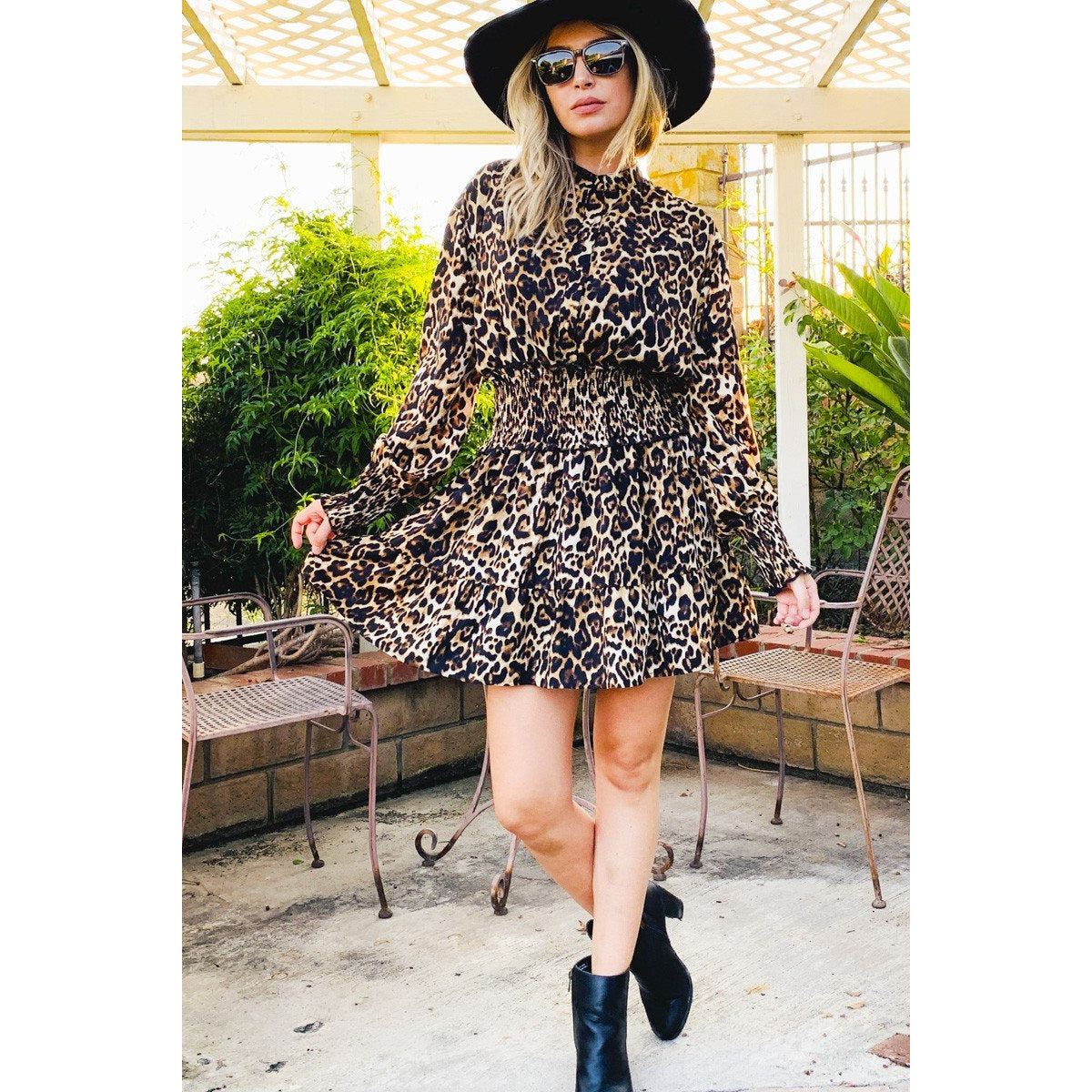 Leopard Button-Up Smock Waisted Mini Dress