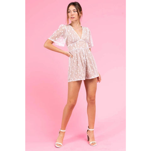 Short Sleeve Star Meshed Romper
