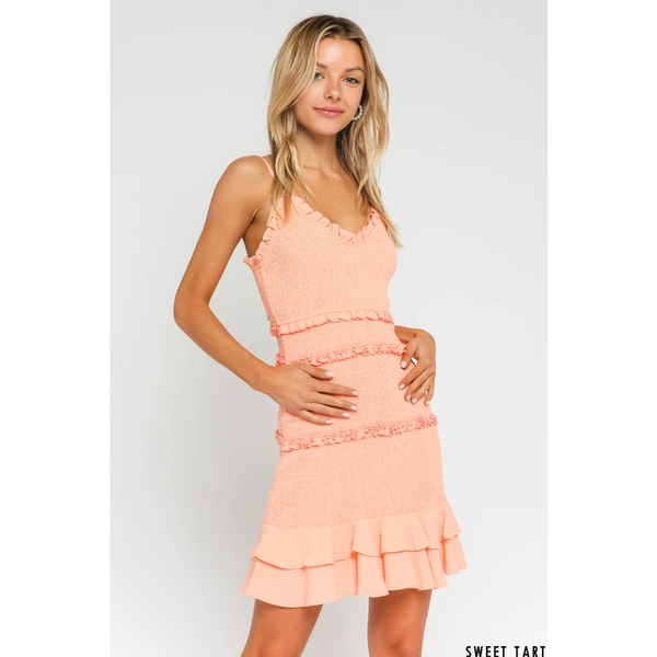 Smocked and Ruffled Spaghetti Strap Dress in Sweetart Peach