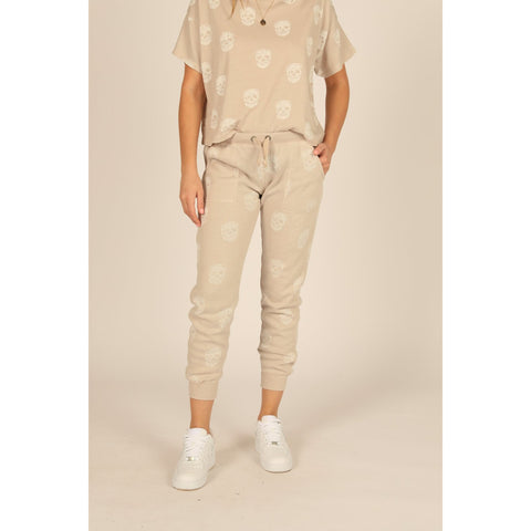 Tan With Ivory Skull Print Burnout Jogger