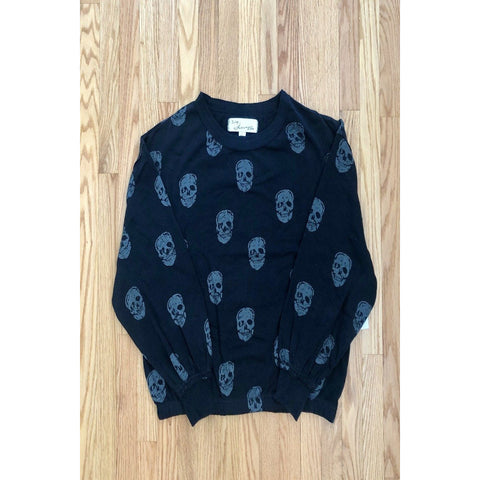 Skull Print Burnout Fleece Top with Crew Neck