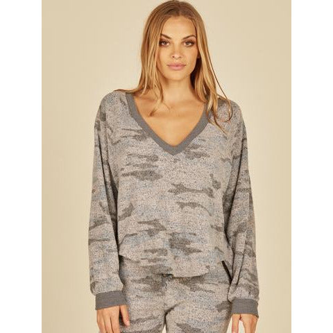 Grey Camo Print Cozy Fleece V-Neck