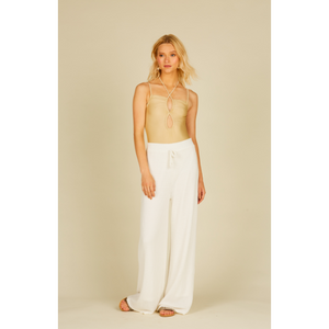 Beach White Basket Texture Knit Wide Leg Pant