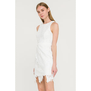 White Palm Leaf Patterned Lace Sleeveless Dress