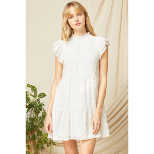 Short Sleeve Swiss Dot Dress in White