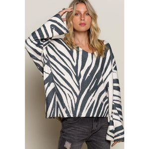 Ivory and Charcoal Zebra Print Sweater