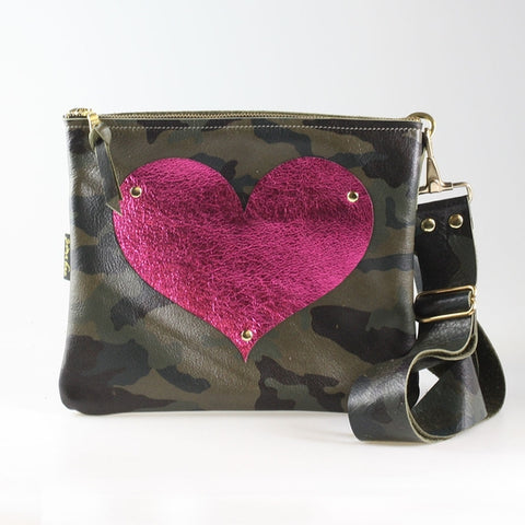The Taylor Crossbody Green Camo with Metallic Fuschia Heart