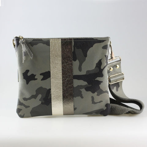 The Taylor Crossbody Granite Camo with Platinum/Pewter Stripes
