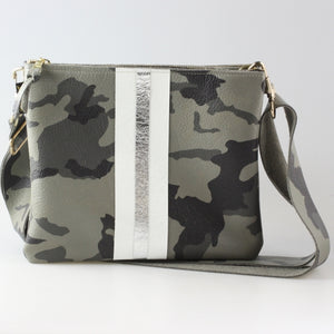 The Taylor Crossbody Granite Camo with Snow/Silver Layered Stripe