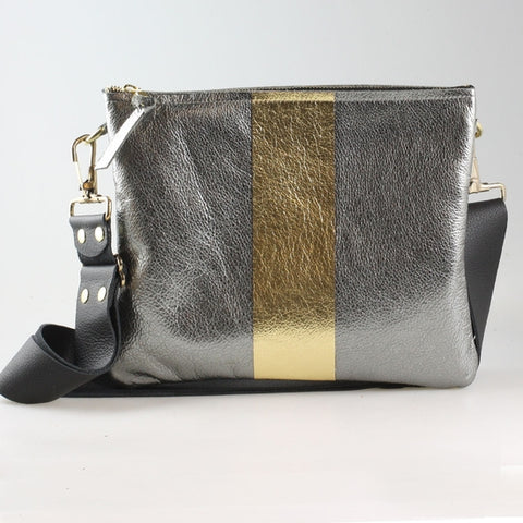 The Taylor Crossbody Gunmetal with Metallic Gold Stripe