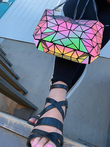 geometric luminous holographic iridescent crossbody bag